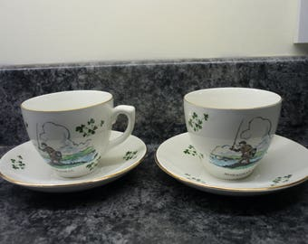 Vintage Carrigaline Pottery. Two Cups & Saucers - Fly Fishing. Irish Souvenir Monaghan. Tea for two set.  Made in Cork Ireland.