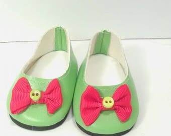 Handmade Ballet Flats Embellished with Ribbons and Bows fits the American Girl doll or The Wellie Wisher
