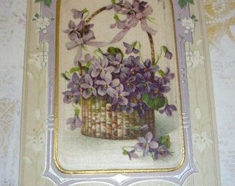 Clearance Sale Beautiful Embossed Easter Postcard With Satin Center Showing Basket of Violets Winsch Back
