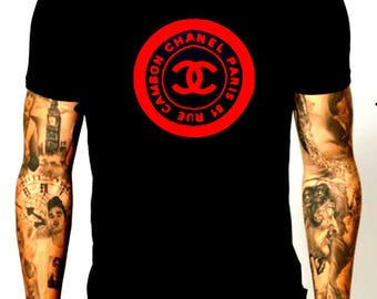Chanel  inspired red logo black shirt  M orL