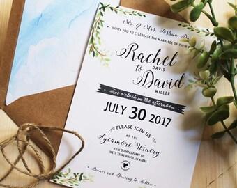 Nature Inspired Wedding Invitation Green Rustic Woodland Custom Watercolor Set