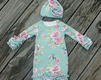 Floral Infant Gown- Monogrammed Infant Gown, Infant Gown with Ruffles, Shabby Chic Baby