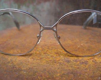 1980s White Gold Eyeglasses, 10K 1/20. Large frame Boho silver color eyewear. Retro Bohemian French fashion. Hipster mod glasses from France