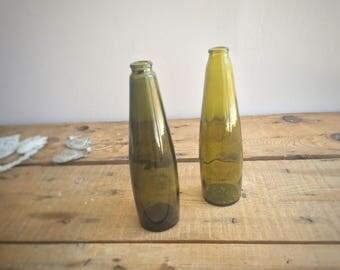 Vintage Olive Green Reusable Glass Bottles, Beer Bottles, Decorative Vases, Spring Summer Farmhouse Home Decor or Vintage Wedding Prop, Gift