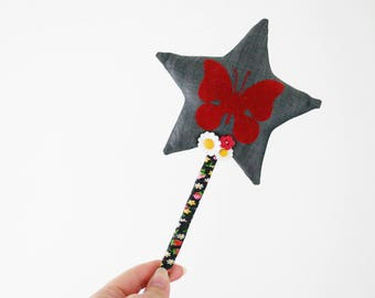 One of a Kind Magic Fairy Wand - Flocked Butterfly on Denim with Daisies