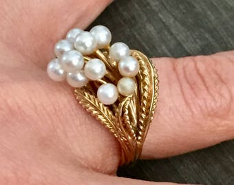 14kt Yellow Gold Cluster Pearl Ring
