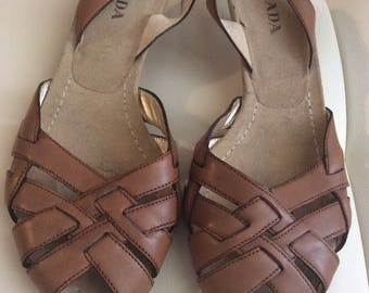 Prada brown leather sandals size 8