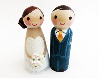 Cake toppers - Wedding Cake toppers - Simplified wooden figurines - To customize