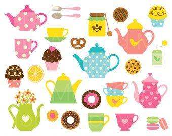 Tea Party Clipart Clip Art Tea Time Clipart Tea Party Invitation Clipart Teacup Clipart Teapot Clipart Dessert Clipart Digital Download
