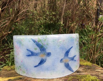 Fused Glass Sculpture with Swallows, Decorative glass/candle holder