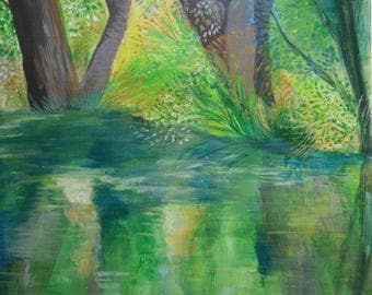 Art painting acrylic/acrylic forest landscape / River/reflections water / art modern /nature / forest / original/along the river painting