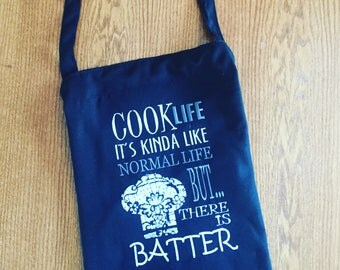Cook Life Apron  / Embroidered apron / Customization avaliable