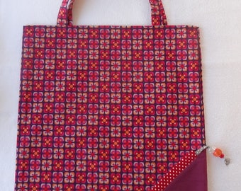 Tote Bag / eco-friendly tote bag / pouch - purple and Red foldable bag