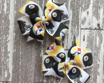 Pittsburgh Steelers Small Pigtail Set Hairbows - Steelers Bow - pittsburgh steelers - steelers bow