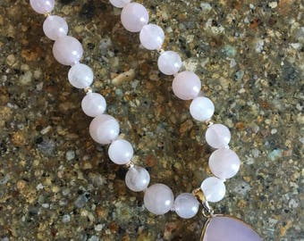 Rose Quartz and Sterling Silver Beaded Necklace