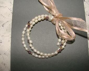 Vintage Beaded Freshwater Pearl Memory Wire Bracelet