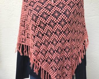 Crochet lace poncho salmon shawl scarf wrap women clothing romantic feminine crochet tunic bohemian wrap scarf gift for her ready to ship