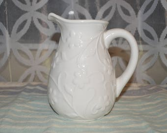 Vintage medium sized white ironstone pitcher flower design/motif. Unmarked Milk water pitcher display collectable Free Shipping
