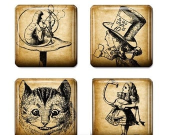 80%  off Graphics Sale Alice in Wonderland Digital Collage Sheet 1 x 1 inch printable download for tile pendants, scrabble tiles, magnets