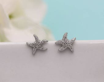 Starfish Earrings, Sea Star Earrings, Star Fish Stud Earrings, beach wedding earrings, crystal earrings, Beach Starfish Earrings