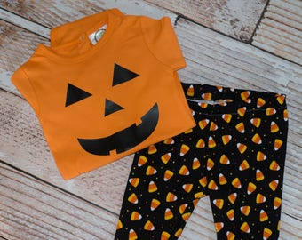 Pumpkin Bodysuit with Candy Corn Tights