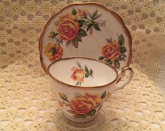 Royal Standard Romany Rose Bone China Teacup and Saucer, Made in Egland, Gold Trim, Yellow Rose Teacup, Yellow Pink Rose