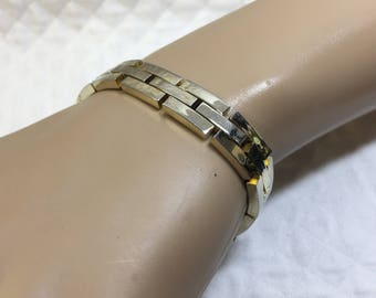Gold Tone Linked Bracelet, Locking Clasp, Unisex Gold Tone Linked Bracelet, Unisex Bracelet