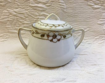 Nippon Covered Sugar Bowl, Hand Painted, Gold Embellished, Yellow and White, Porcelain Sugar Bowl, Japan