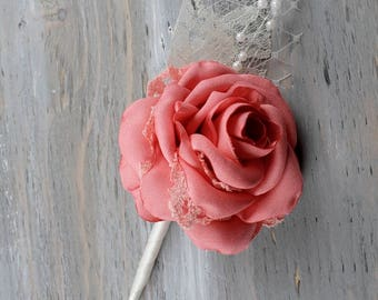 Coral Wedding Boutonniere Grooms Boutonniere Groomsmen Boutonniere Mens Wedding Boutonniere Coral Boutonniere Wedding Accessories