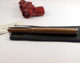 Fine chrome pen in Walnut