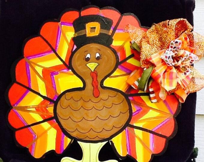Turkey sign, turkey door sign, pilgrim sign, pilgrim door sign, thanksgiving sign, happy thanksgiving sign, pumpkin door hanger,