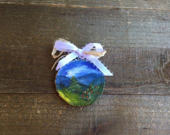 Mini oil painting, Birch round, Ornament, Smoky Mountains,Appalachian Mountains, Blue Ridge Mountains,