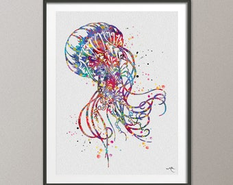 Jellyfish Watercolor Painting Print Art Print Jellyfish Poster Art Scaleph Art Wall Decor Sea Decor Home Decor Wall Hanging [NO 774]
