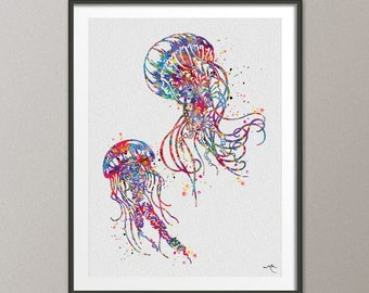 Jellyfishes Watercolor Painting Print Art Print Jellyfish Poster Art Scaleph Art Wall Decor Sea Decor Home Decor Wall Hanging [NO 775]