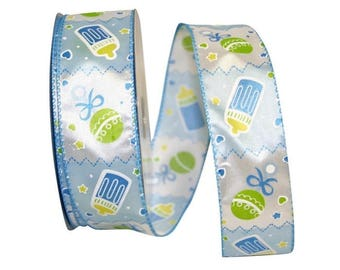 Premium Wired Ribbon, Blue White Baby Boy Wired Ribbon, Baby Shower Ribbon,  Bow
