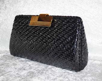 1960's Evening Bag Rodo Clutch Bast Rattan Vintage
