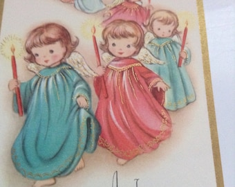 Christmas card Angels with candles