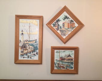 30% SALE *** Three Nautical Village Harbor & Boat Scene Paint By Number Paintings in Wood Frames - Vintage Kitsch Wall Art