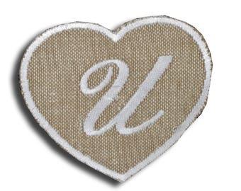 "Heart shaped Monogram fusible ""Letter U"""