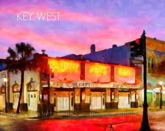 Key West Print, Sloppy Joes, Key West Poster, Florida Poster, Key West Art Wall Art Home Decor #vi802