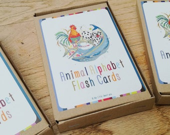 Beautifully illustrated Animal Alphabet and number (10) Flashcards. Perfect for teaching your little one to read and count!!