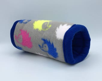 12 inch Fleece Tunnel, Hedgehogs on grey, for hedgehogs, guinea pigs, rats, sugar gliders and other small animals