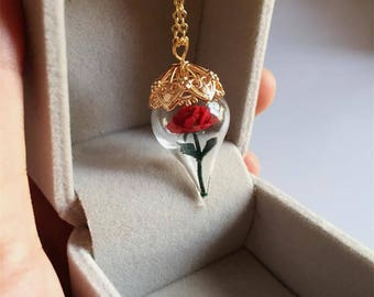 Beauty and the Beast Mini Velvet Rose Flower Handmade Crystal Glass Vial Necklace