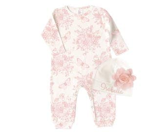 Personalized Newborn Girl Coming Home Outfit, Baby Girl Outfit, Pink Floral Romper, Baby Name Hat, TesaBabe RC81BG63IY-1F85PP-T281