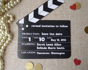Movie Clapperboard design.Wedding Save The Date.Rehearsal Dinner.Birthday Party.Shower Invitation.clapboard design. Claqueta