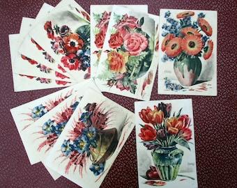 French Flower Postcards, Vintage Postcards, Set Of Postcards, Romantic Flower Paintings, Watercolour Flowers, Floral Cards, Vintage Cards