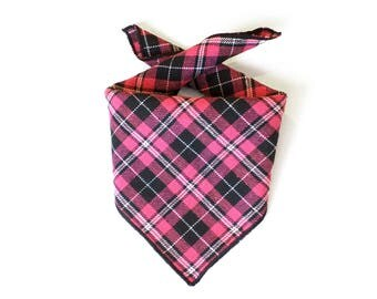 Tie On Black and Pink Tartan Plaid Dog Bandana, Dog Scarf, tie bandana, pet bandana, doggy scarf , scarf for dogs