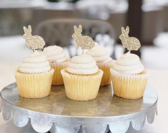 Glitter Bunny Cupcake Toppers