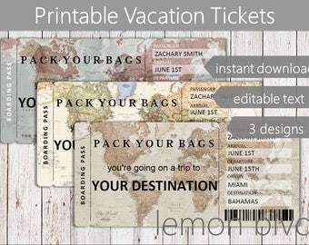 Surprise Trip Tickets | Vacation Ticket Instant Download | Editable Text | Boarding Pass | Printable Trip Ticket Surprise | World Map Ticket