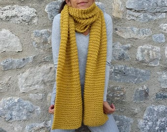 Extra long scarf, Knitted scarf, Cozy scarf, Mustard yellow scarf